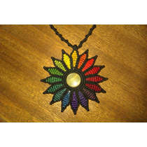 Collar Flor Macrame Piedra Artesanía Con Piedra Natural Onix