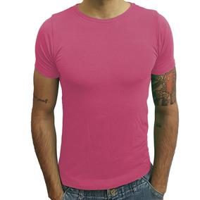 Camisa Básica Slim Gola Redonda Com Elastano Manga Curta