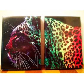 2 Cuadros Leopardo - En Lona - Animal Print -13x18 Cm C/u