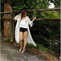 Vestido Blusa Playa Para Traje De Baño Bikini Blanco
