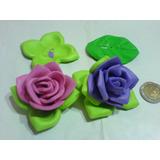 Dos Rosas Artesanales Confeccionadas En Goma Eva Rosa Y Lila
