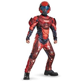 Músculo Disfraz Rojo Spartan De Halo Clásico Traje De Micro