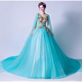 Vestido De Noiva - Azul - 34 36 38 40 42 44 46 - Va00163