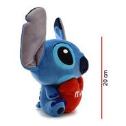 Peluche Stitch Sentado Con Corazón 20 Cm - Orig Phi Phi Toys