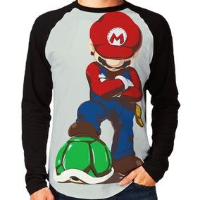 Camisas Camiseta Blusa Raglan Super Mario Bross Luigi Gamer