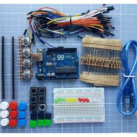 Kit Arduino Uno + Protoboard + Jumper + Leds + Botões Etc