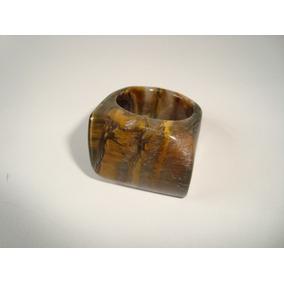 Anel Pedra Olho De Tigre Natural Polido Aro 23 - X16