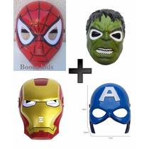 4 Mascaras Homem De Ferro+capitão America+ Hulk+homem Aranha