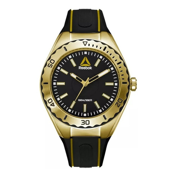 Reloj Reebok Silicona Negro Y Dorado Rd-emo-l2-s2ib-b2 Envio