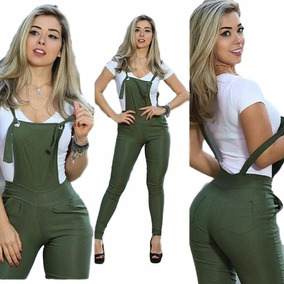 Macacão Tipo Jardineira Bengaline Moda Blogueiras
