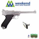 Pistola Luger Larga Cromada Full Metal We P08 - Lugger