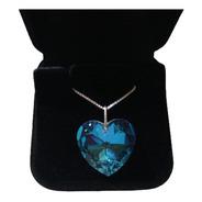 Colar Coração Cristal Swarovski Blue Ab 2,0 Cm - Prata 925