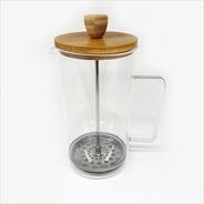 Cafetera Vidrio Tapa Bamboo Con Embolo 1000ml