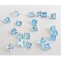 Pedras Preciosas Topazio Azul 6 Pedras Carre 3mm