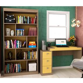 Conjunto Home Office Com Escrivaninha 3 Gavetas E A