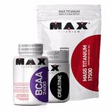 Combo Massa 3kg + 1 Bcaa 100cap + 1creatina150g Max Titan