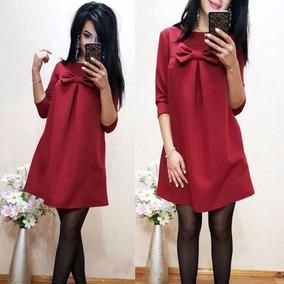 Vestido Femenino Rojo Manga Larga-estilo Coreano- Talla L