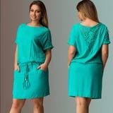 Vestido Verde Moda Verão Detalhe Em Renda #27 Com Laço