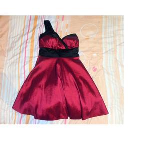Vestido Vinotinto Elegante Fiestas Bodas Cóctel Talla M - L
