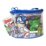 Set 5 Muñecos Avengers Ironman Hulk Capitan Bolso Cierre