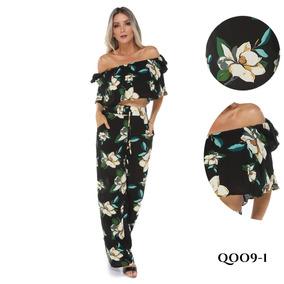 Conjunto Calça Pantalona E Cropped Em Viscose Verão 2017