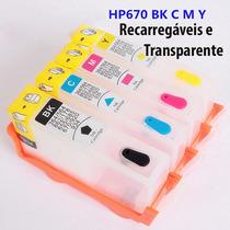 Cartucho Recarregável Hp670 4 Cores Com Chip Reset