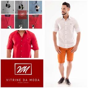 Camisa Casual Slim Golfe 3/4 Luxo Masculino Algodão 7 Cores