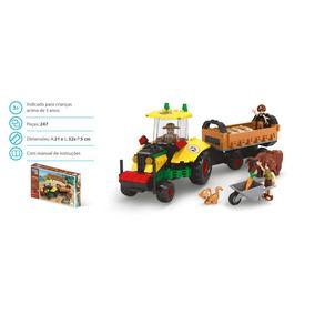 Brinquedo Blocos De Montar Com 274pçs Fazenda Colheita