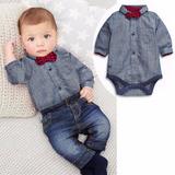 Conjunto Infantil Bebê Calça Jeans, Camisa, Gravata Casual