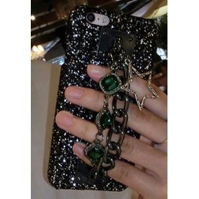 Protector Case Iphone 7 Negro Con Brillantes Y Piedras Verde
