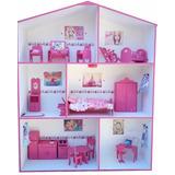 Casita De Muñecas P/ Barbie, C/ Nombre, Muebles Y Regalitos!