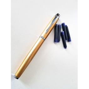 Caneta Tinteiro Parker Dourada-âmbar + 5 Cartuchos Tinta
