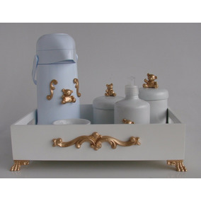 Kit Higiene Luxo Cesta Urso Dourado Garrafa + Potes Cerâmica