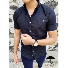 Camisa Slim Fit Negra Hilos Moon & Rain