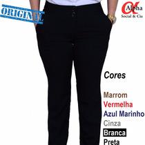 Calça Social Feminina C/ Bolsos-várias Cores Ganhe 15% Desc.