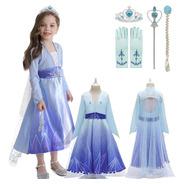 Fantasia Infantil Elsa Frozen 2 + Coroa Luvas Trança Varinha