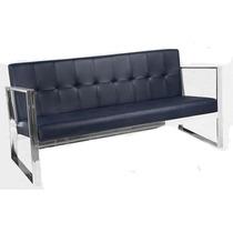 Sofa Sala Sillon Minimalista 3p Modernista Piel Elegante
