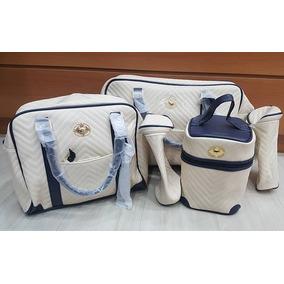 Kit Bolsa Maternidade Tigor T.tigre Palha Com Azul Marinho