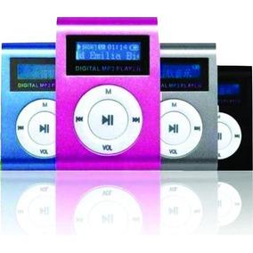 Mp3 Player Clip Espelhado + Fone+ Cabo Usb Música E Arquivos