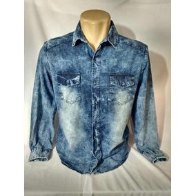 Camisa Jeans Casual Masculina Estilo Europeu 2 Bolsos Casual