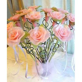 Velas En Forma De Rosa Para 15 Años. Precio Por 15 Velas