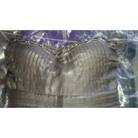 Vestido Straple Casual Braga Color Gris Talla M 60% Polieste