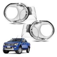 Moldura Do Farol De Milha Ford Ranger 2013 2014 Cromado