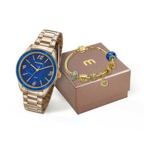 Relógio Mondaine Feminino Dourado 99277lpmkde3k1 + Pulseira