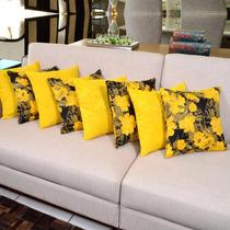Kit De Almofadas Decorativas Amarela Estampada 8 Peças Sofá