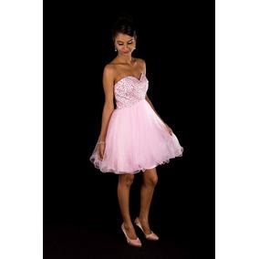 Vestido De Festa Rosa Curto Debutante/15 Anos/pronta Entrega