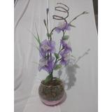 Vaso De Flores Com Meia De Seda E Castiçais