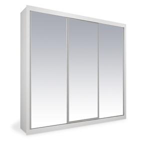 Armário 3 Portas De Correr Branco Espelhado, Premium Plus 2,