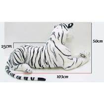 Tigre Branco Pelúcia Gigante Realista Presente Decoração Gg