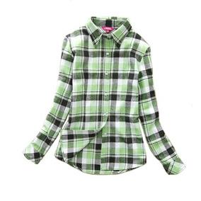 Camisa Feminina Xadrez Slim Fit Flanela Adulto E Infantil